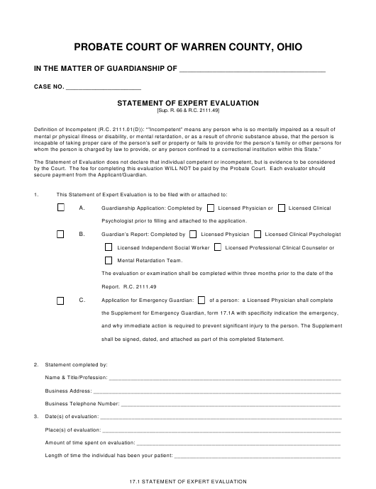 """Statement of Expert Evaluation Form"" - Warren county, Ohio Download Pdf"
