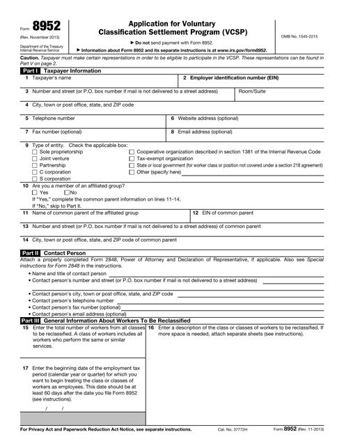 IRS Form 8952  Printable Pdf