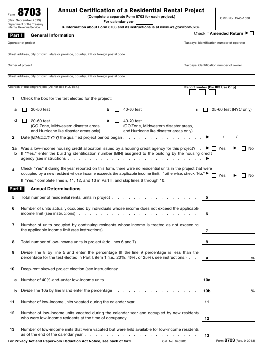 IRS Form 8703 Printable Pdf