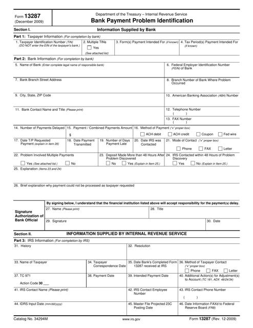 IRS Form 13287  Printable Pdf