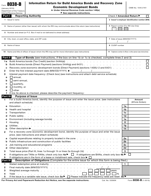 IRS Form 8038-B  Printable Pdf