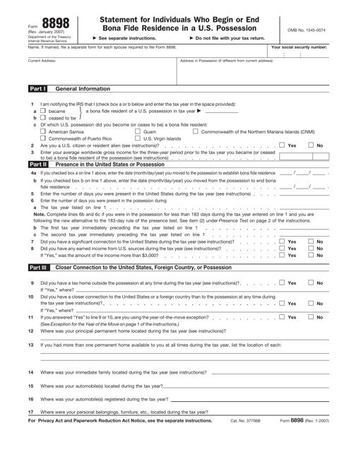 IRS Form 8898  Printable Pdf