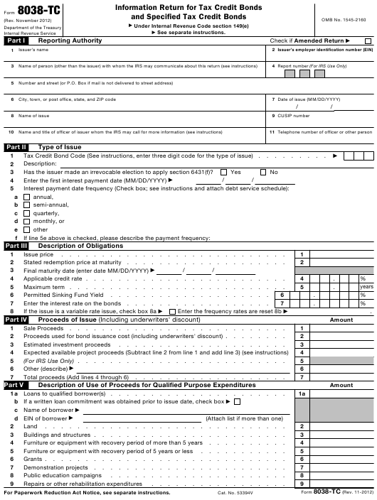 IRS Form 8038-TC Printable Pdf