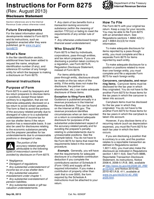 IRS Form 8275  Printable Pdf