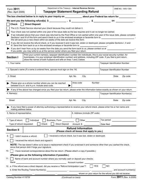 IRS Form 3911  Printable Pdf