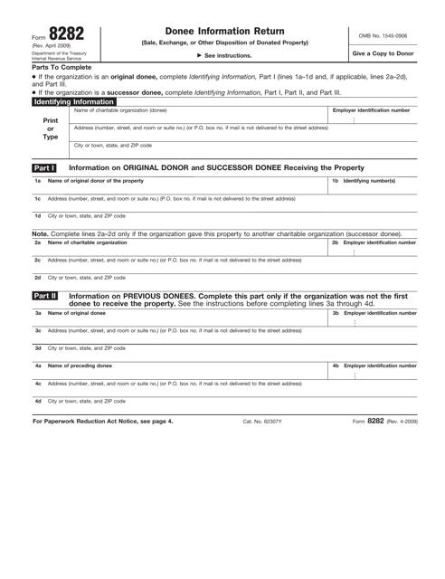 IRS Form 8282  Printable Pdf