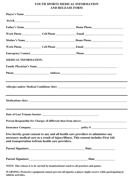 Youth Sports Medical Information And Release Form Download Printable ...