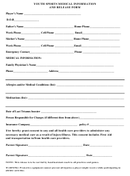 Youth Sports Medical Information and Release Form