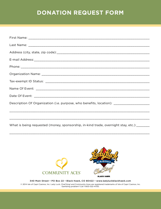 """Donation Request Form - Ladyluck"" Download Pdf"