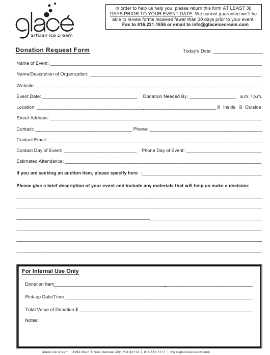 """Donation Request Form - Glace"" Download Pdf"