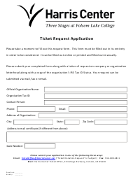 Ticket Request Application Form - Harris Center - California