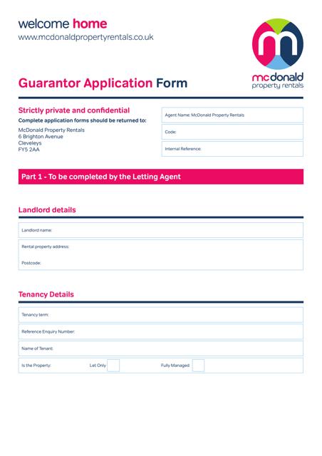 Guarantor Application Form - Mcdonald Property Rentals - United Kingdom Download Pdf