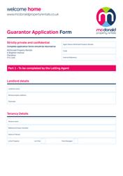 """""""Guarantor Application Form - Mcdonald Property Rentals"""" - United Kingdom"""