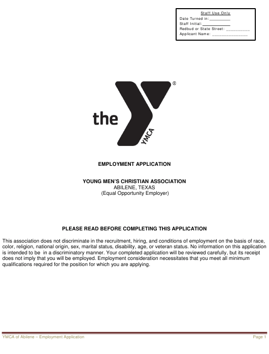 Employment Application Form - Ymca - ABILENE, Texas Download Pdf