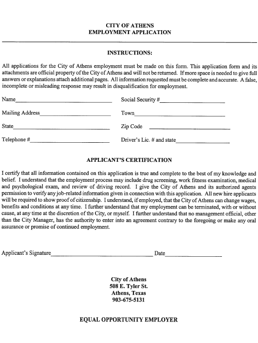 """Employment Application Form"" - City of Athens, Texas Download Pdf"