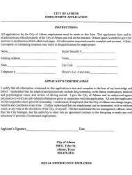 """Employment Application Form"" - City of Athens, Texas"