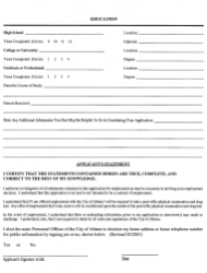 """""""Employment Application Form"""" - City of Athens, Texas, Page 5"""