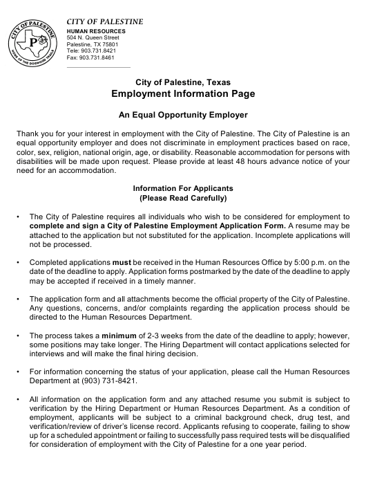 Employment Application Form - City of Palestine, Texas Download Pdf
