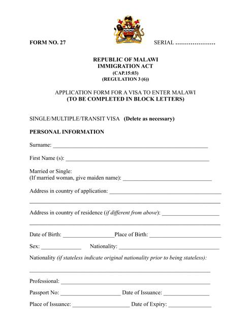 Malawi Visa Application Form - Embassy of the Republic of Malawi - Tokyo Japan Download Pdf