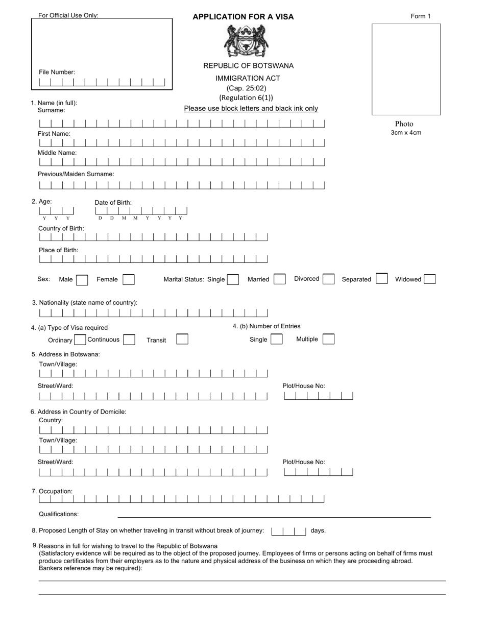 Form 1 Download Printable Pdf Or Fill Online Botswana Visa Application Form Botswana Templateroller