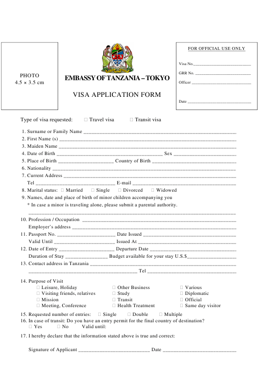 Tanzania Visa Application Form - Embassy of Tanzania - Tokyo Japan Download Pdf
