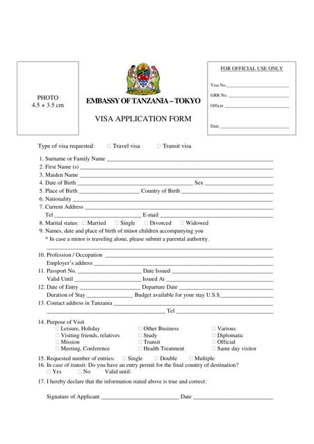 """""""Tanzania Visa Application Form - Embassy of Tanzania"""" - Tokyo, Japan Download Pdf"""
