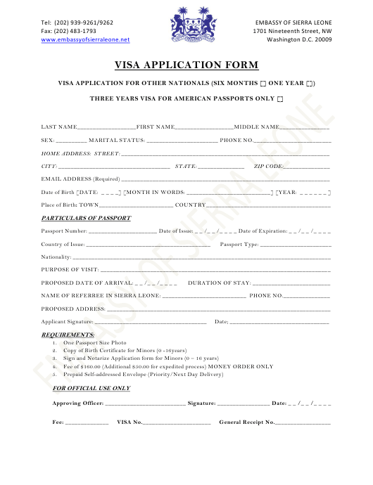 """Sierra Leone Visa Application Form - Embassy of Sierra Leone"" - Washington, D.C. Download Pdf"