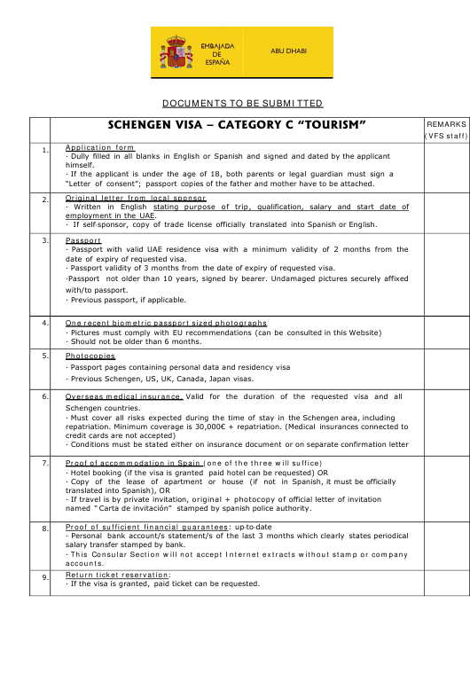 Spanish Schengen Visa Checklist (Category C
