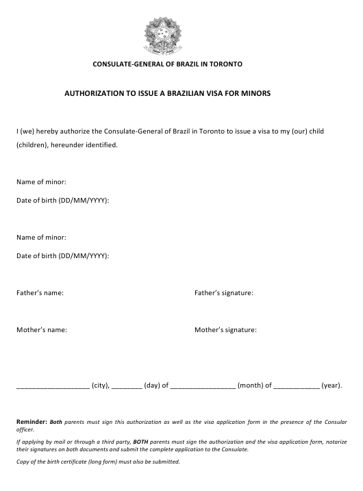 Authorization to Issue a Brazilian Visa for Minors - Consulate-General of Brazil in Toronto - City of Toronto, Ontario Canada Download Pdf