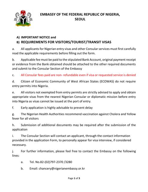 """Nigerian Visa Application Form - Embassy of the Federal Republic of Nigeria"" - Seoul, North Korea Download Pdf"