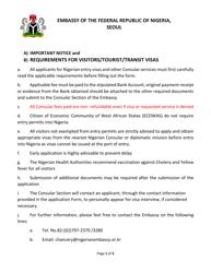 """Nigerian Visa Application Form - Embassy of the Federal Republic of Nigeria"" - Seoul, North Korea"