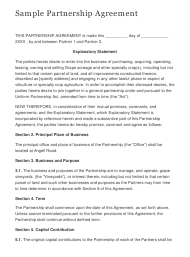 Sample Partnership Agreement Template