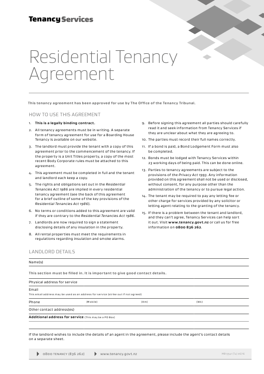 Form 01 Download Fillable Pdf Residential Tenancy Agreement