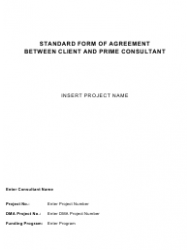 """Standard Form of Agreement Between Client and Prime Consultant"""