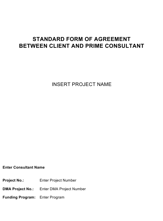 Standard Form of Agreement Between Client and Prime Consultant Download Pdf