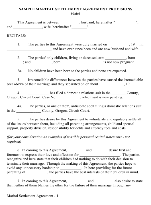 Sample Marital Settlement Agreement Provisions Form Download Pdf