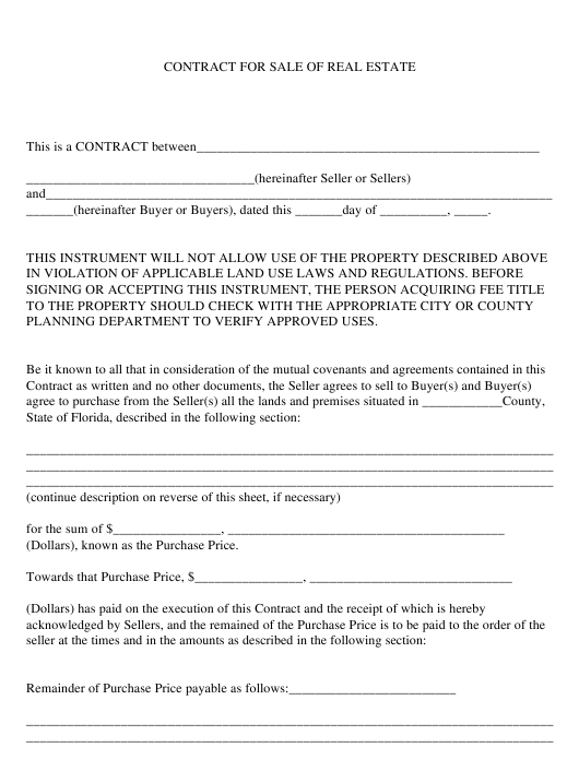 Real Estate Sale Contract Template - Florida Download Pdf