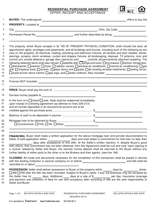 Residential Purchase Agreement Template - Multiple Listing Service - Ohio Download Pdf
