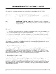 Partnership Dissolution Agreement Template