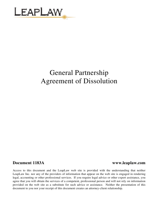 General Partnership Agreement of Dissolution Template - Leaplaw Download Pdf