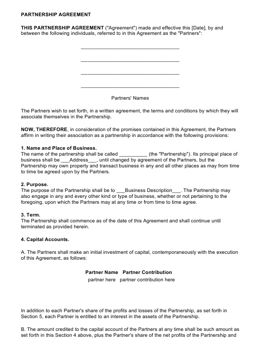 Partnership Agreement Template Download Pdf