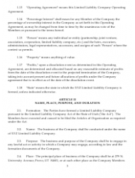 """Sample Xyz Limited Liability Company Operating Agreement"", Page 3"
