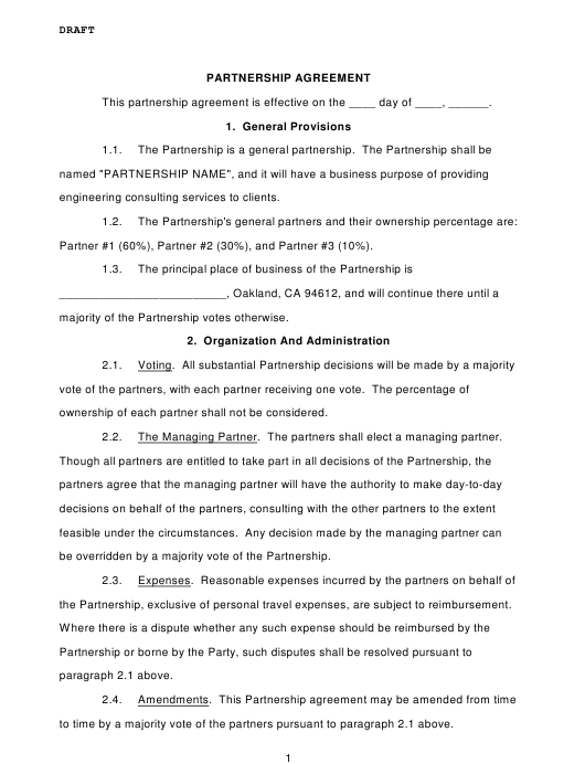 Partnership Agreement Template - City of Oakland, California Download Pdf