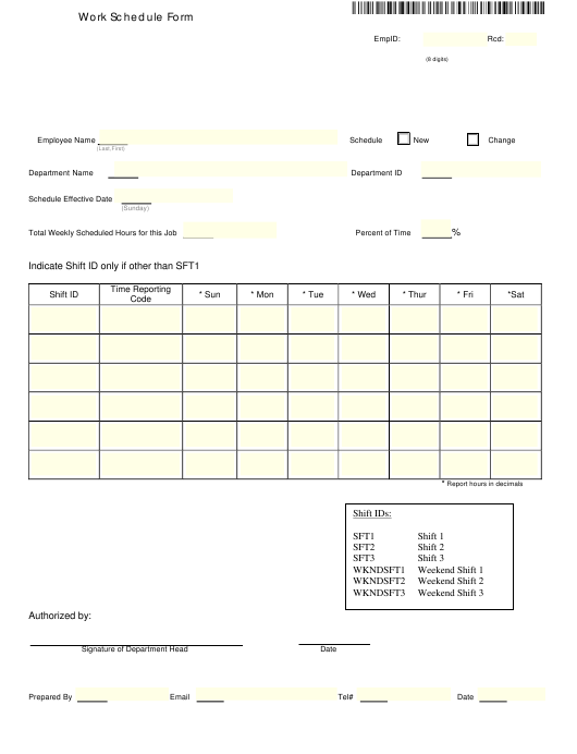 """Weekly Work Schedule Form"" Download Pdf"
