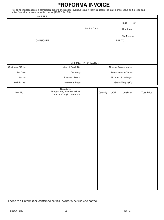 Proforma Invoice Form Download Pdf