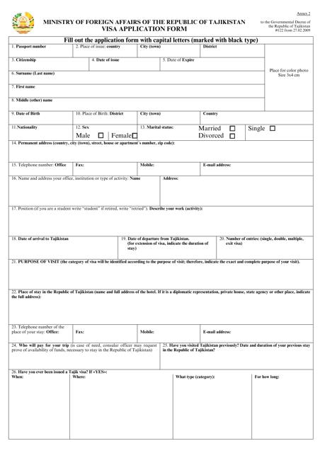Visa Application Form - Tajikistan Download Pdf