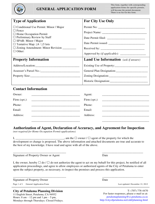 """General Application Form"" - City of Petaluma, California Download Pdf"
