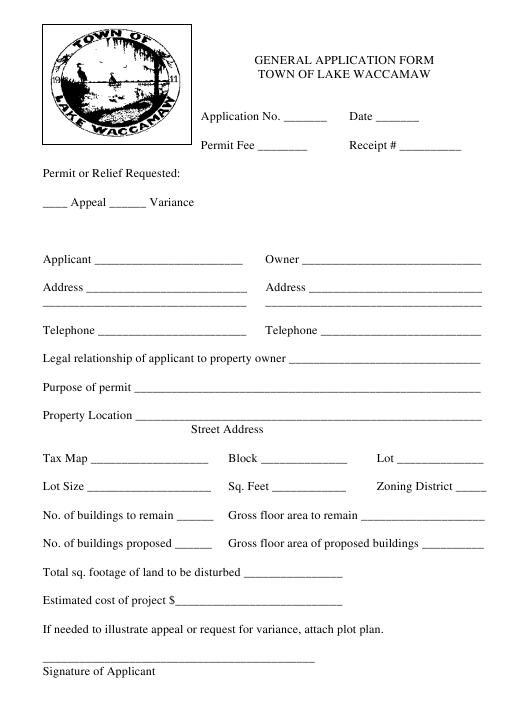 """General Application Form"" - Town of Lake Waccamaw, North Carolina Download Pdf"