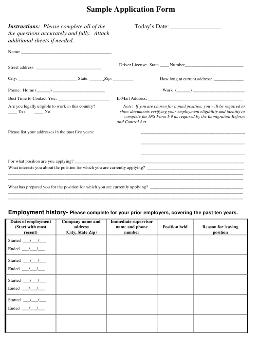 Job Application Form - Sample Download Pdf