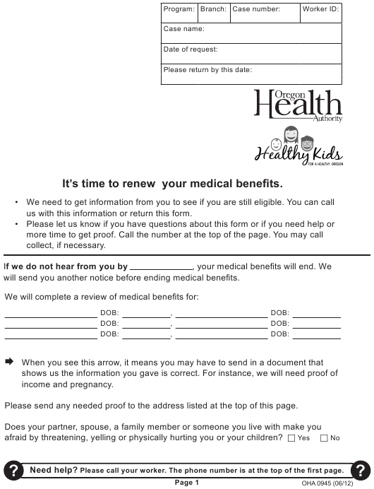 """Medical Benefits Renewal Form"" - Oregon Download Pdf"